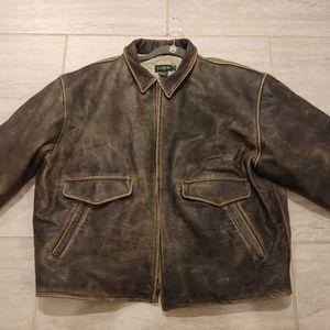 J Crew Men's Brown Leather Jacket Jacket Size XL